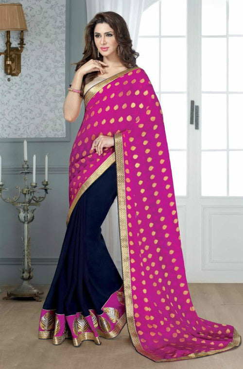 Pink & Navy Blue Georgette Embroidered Saree - Saira's Boutique