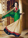 Karishma Green & Beige Georgette Saree - Saira's Boutique