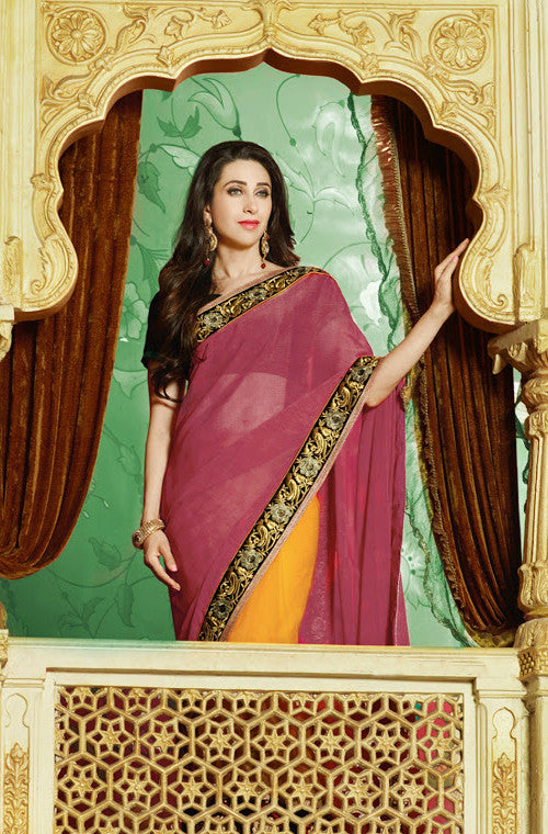 Karishma Red & Yellow Georgette Saree-Saira's Boutique