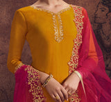 Honey Mustard & Magenta Designer Embroidered Georgette Palazzo Suit-Saira's Boutique