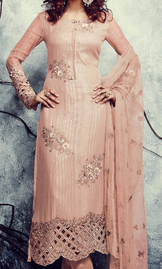 Peach Embroidered Georgette Churidar Suit - Saira's Boutique - 2