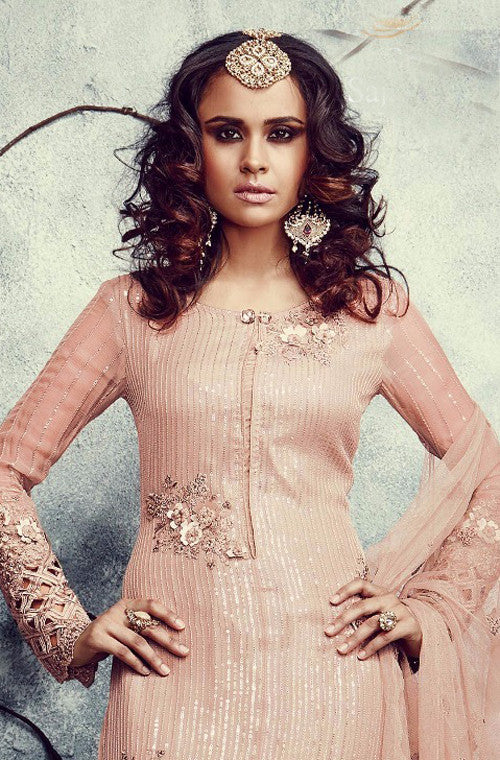 Peach Embroidered Georgette Churidar Suit - Saira's Boutique - 3