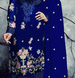 Royal Blue Embroidered Georgette Churidar Suit - Saira's Boutique - 2