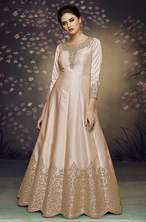 Ivory Beige Designer Embroidered Satin Silk Anarkali Gown-Saira's Boutique