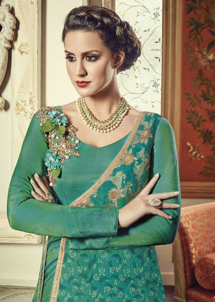 Jade Green Designer Embroidered Silk Anarkali Gown