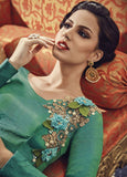 Jade Green Designer Embroidered Silk Anarkali Gown-Saira's Boutique