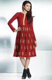 Brick Red Embroidered Pashmina Kurti - Saira's Boutique - 1