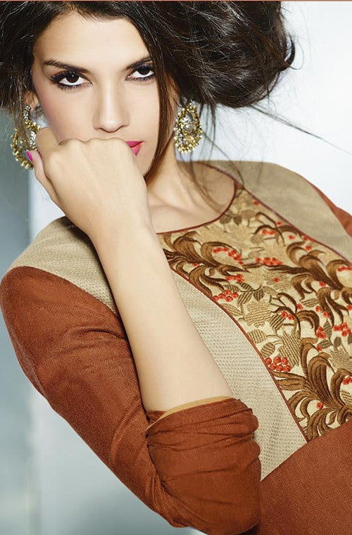 Golden Brown Embroidered Pashmina Kurti - Saira's Boutique - 2