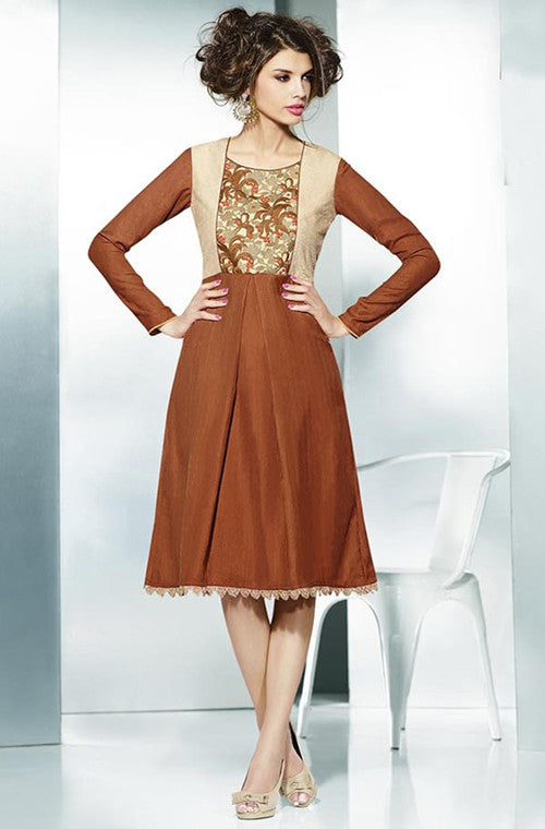 Golden Brown Embroidered Pashmina Kurti - Saira's Boutique - 1
