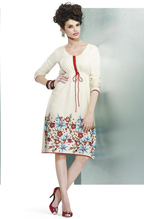 Off-White Embroidered Pashmina Kurti-Saira's Boutique
