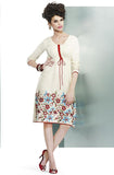 Off-White Embroidered Pashmina Kurti - Saira's Boutique - 1