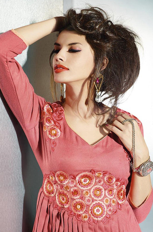 Pink Embroidered Pashmina Kurti-Saira's Boutique