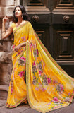 Yellow Faux Georgette Printed Saree-Saira's Boutique