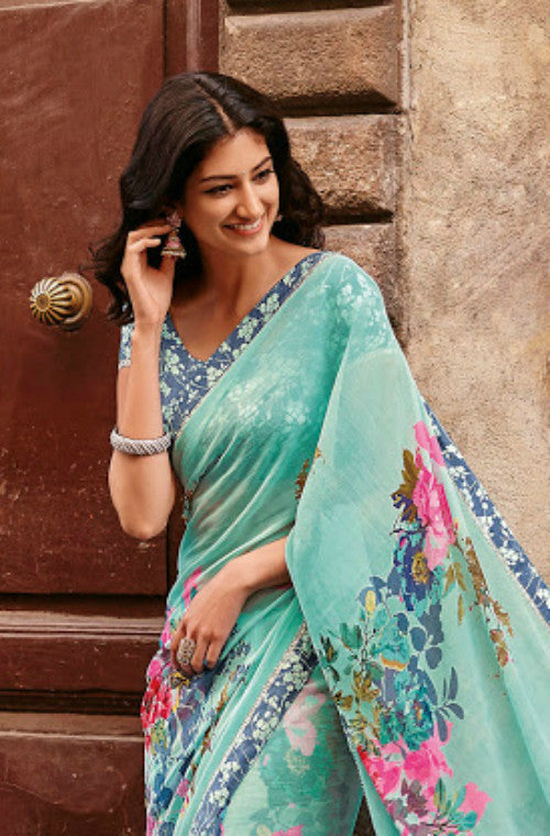 Blue Faux Georgette Printed Saree - Saira's Boutique