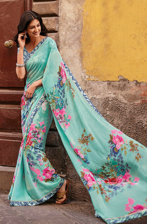 Blue Faux Georgette Printed Saree-Saira's Boutique