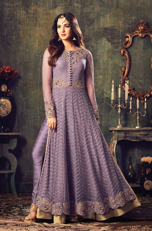 Lavender Designer Heavy Embroidered Net Anarkali Suit-Saira's Boutique