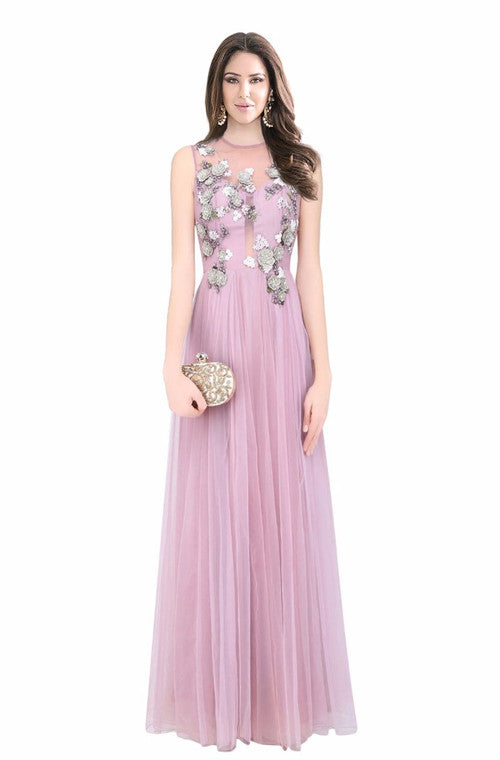 Lavender Embroidered Designer Evening Gown – Saira\'s Boutique