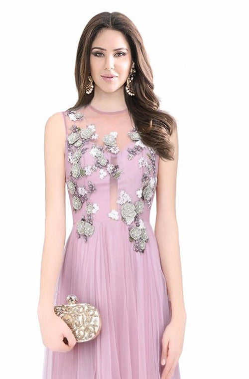 Lavender Embroidered Designer Evening Gown