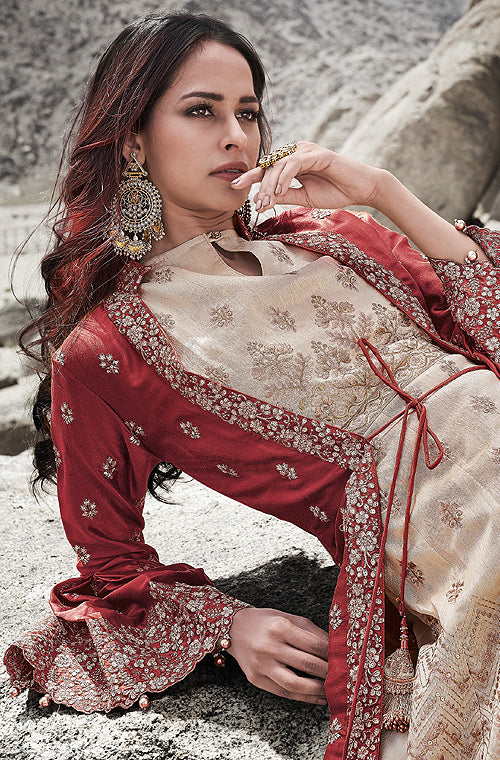 Light Beige & Maroon Designer Embroidered Wedding Jacket Style Anarkali Suit-Saira's Boutique
