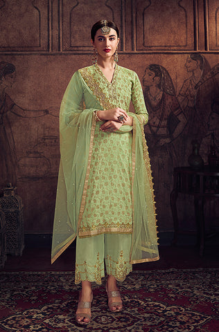 Light Yellow Designer Embroidered Wedding Silk Pant Suit