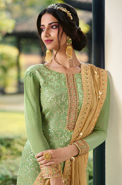 Light Green & Beige Designer Embroidered Wedding Palazzo Suit-Saira's Boutique