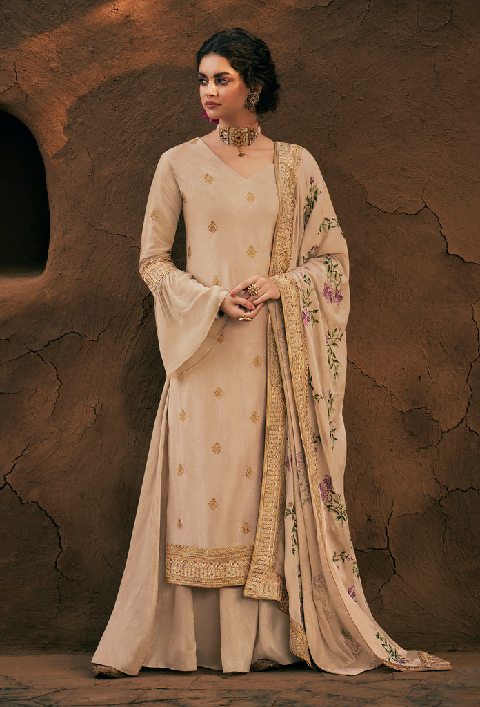 Light Ivory Beige Designer Embroidered Silk Party Wear Palazzo Suit-Saira's Boutique