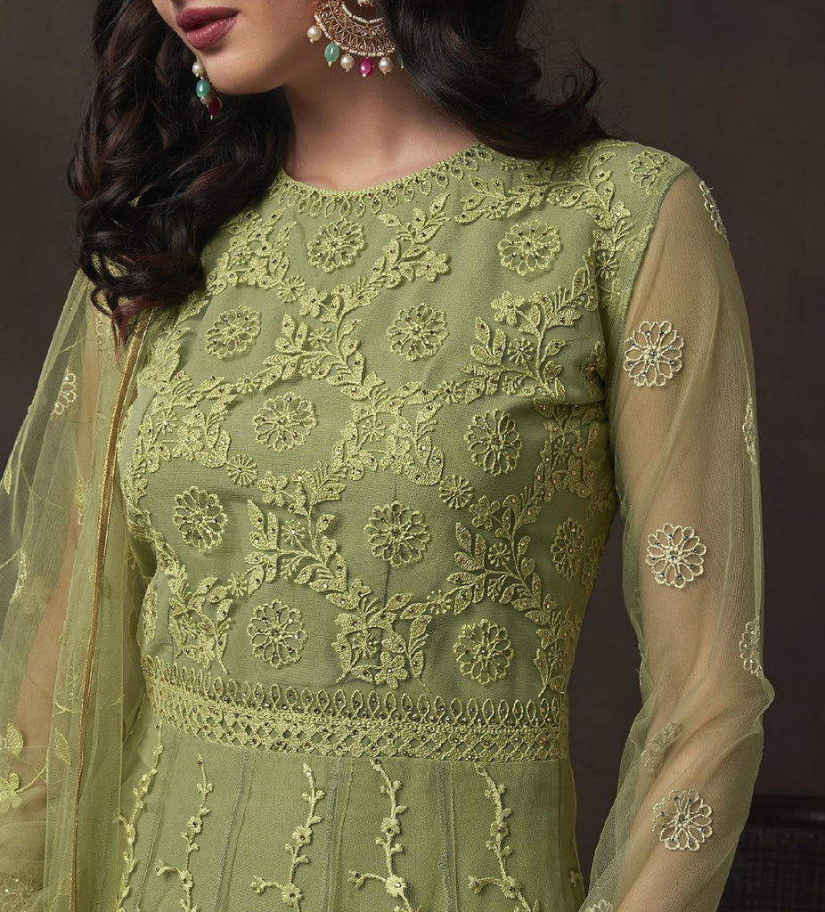 Light Pear Green Designer Heavy Embroidered Net Anarkali Suit-Saira's Boutique