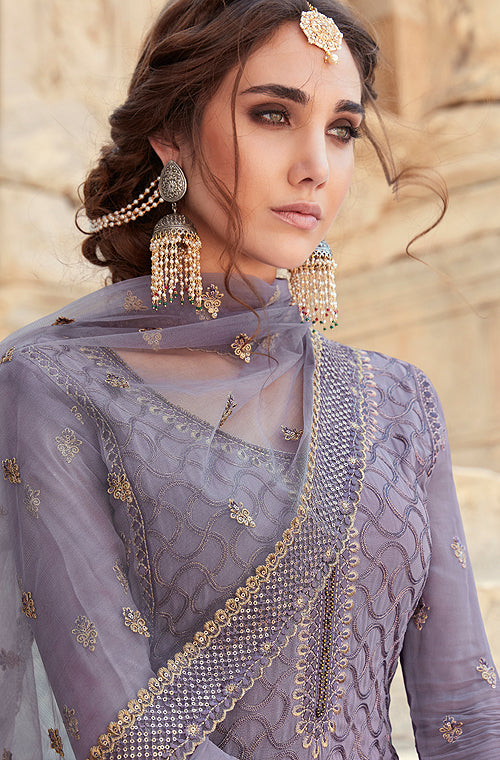 Light Pearl Violet Designer Embroidered Georgette Sharara Suit-Saira's Boutique