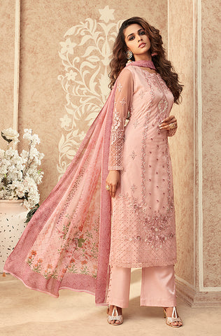 Pastel Pink & Dusty Sea Green Designer Embroidered Palazzo Suit