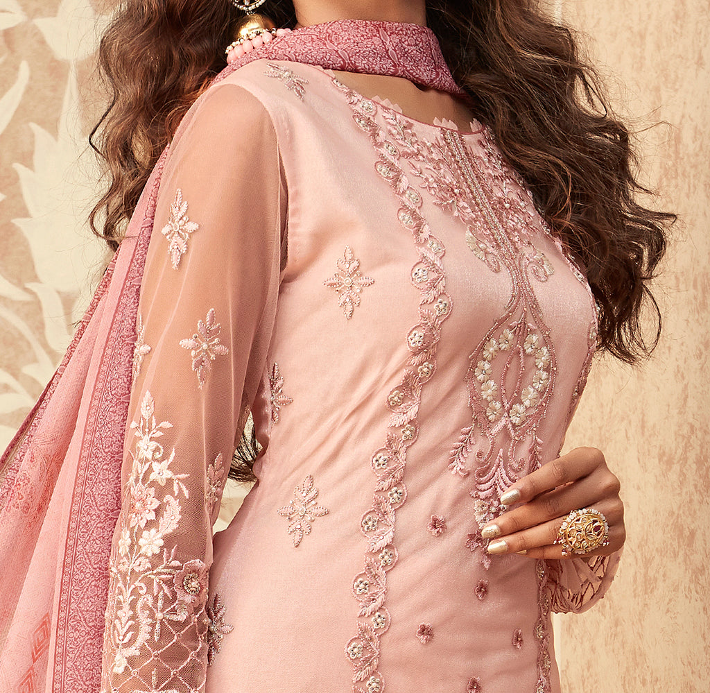 Light Pink Designer Embroidered Party Wear Pant Suit-Saira's Boutique