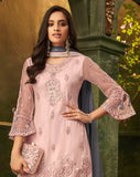 Light Pink & Mauve Gray Designer Embroidered Palazzo Suit-Saira's Boutique
