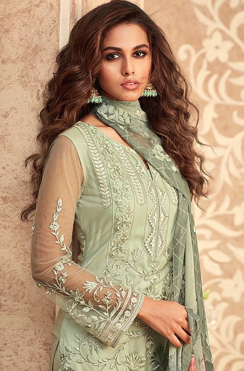 Light Sage Green Designer Embroidered Party Wear Pant Suit-Saira's Boutique