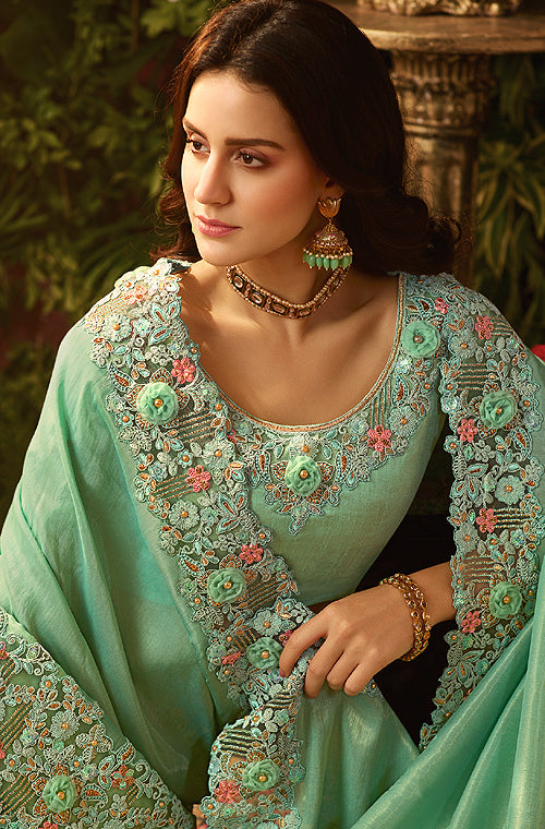 Light Sea Green Designer Embroidered Viscose Tissue Party Wear Saree-Saira's Boutique