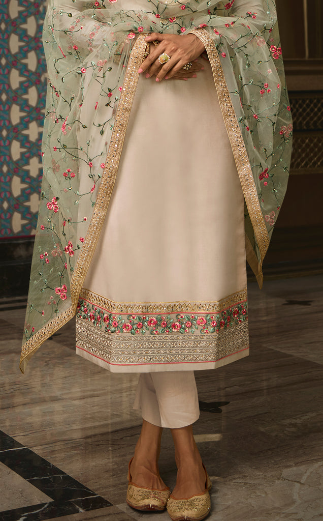 Light Taupe Designer Embroidered Wedding Silk Pant Suit-Saira's Boutique