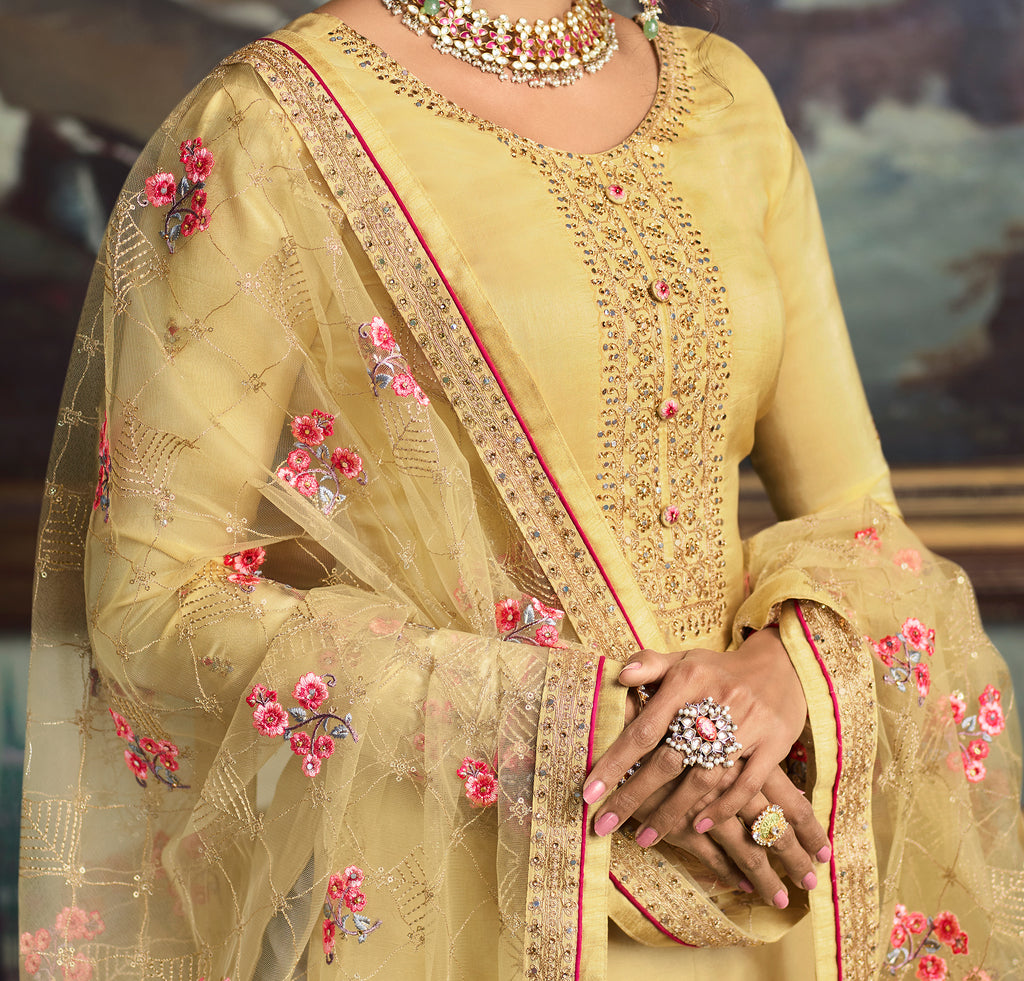 Light Yellow Designer Embroidered Wedding Silk Pant Suit-Saira's Boutique
