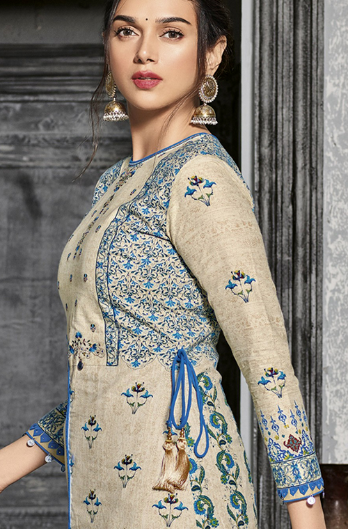 Light Beige & Blue Designer Printed Cotton Pant Suit