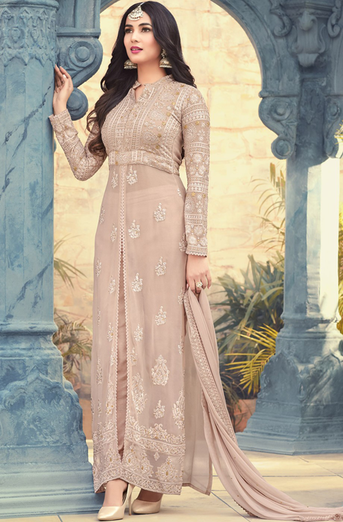 Light Beige Designer Embroidered Georgette Party Wear Pant Suit