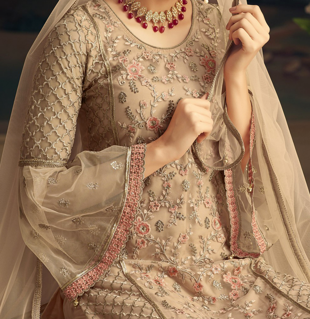 Light Beige Designer Heavy Embroidered Net Sharara Suit