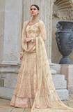 Light Beige Designer Heavy Embroidered Net Wedding & Bridal Anarkali Suit