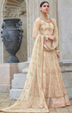 Light Beige Designer Heavy Embroidered Net Wedding & Bridal Anarkali Suit-Saira's Boutique
