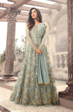 Light Blue Designer Embroidered Net Anarkali Suit-Saira's Boutique