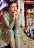 Light Blue Designer Heavy Embroidered Net Bridal Pant Style Anarkali Suit-Saira's Boutique