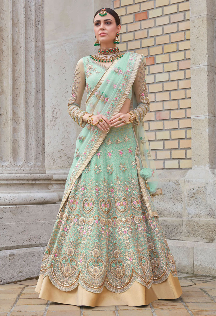 Light Blue Designer Heavy Embroidered Net Lehenga Style Bridal Anarkali Suit