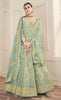 Light Blue & Gold Designer Embroidered Georgette Anarkali Suit-Saira's Boutique