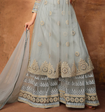 Light Blue Gray Designer Heavy Embroidered Net Sharara Suit-Saira's Boutique