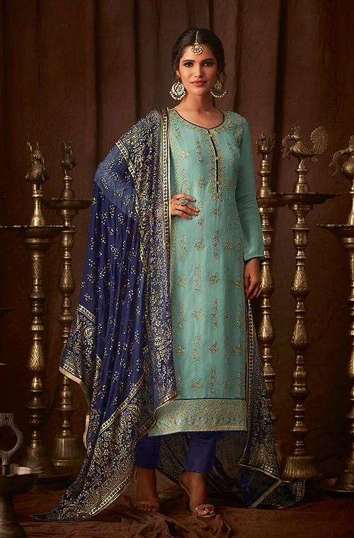 Light Blue & Ink Blue Designer Embroidered Straight Cut Silk Pant Suit-Saira's Boutique