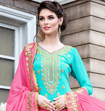 Light Blue & Pink Designer Heavy Embroidered Georgette Wedding Gharara Suit-Saira's Boutique