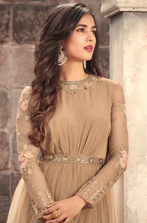 Light Brown Designer Embroidered Net Anarkali Suit