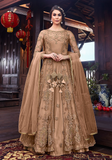 Light Brown Designer Embroidered Satin Bridal Anarkali Gown-Saira's Boutique