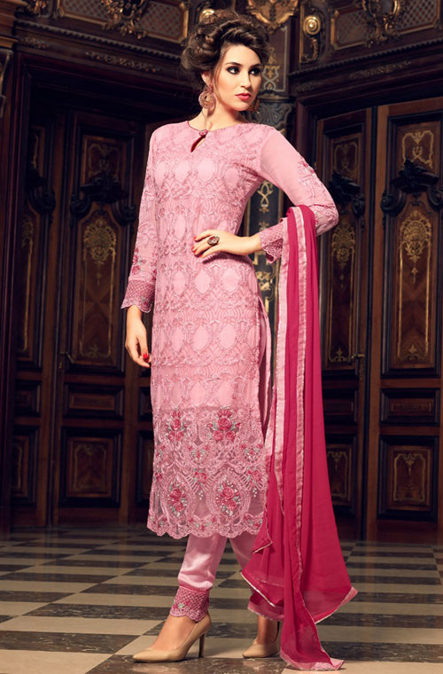 Light & Dark Pink Georgette Designer Embroidered Pant Suit-Saira's Boutique